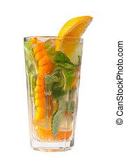 orange, mojito, closeup, cocktail.