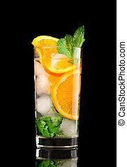 orange, mojito, cocktail