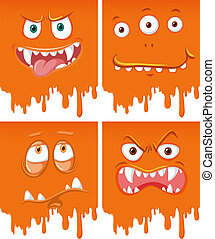 Orange monster face dripping