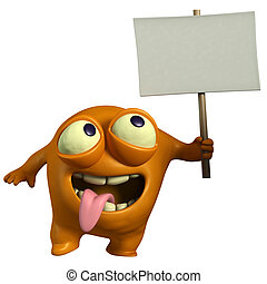 orange monster holding placard