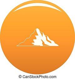 orange, montagne, vecteur, neige, icône