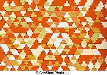 Orange mosaic triangle prism vector background, warm tone