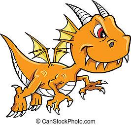 orange, moyenne, vecteur, dragon