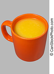 Orange mug and juice