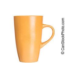 Orange mug empty blank for coffee or tea isolated on white background