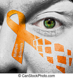 Orange Multiple Sclerosis ribbon painted on face - Multiple ...