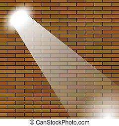 orange, mur, brique