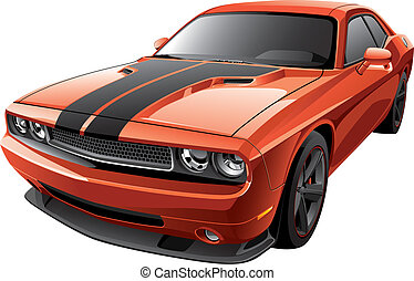 orange muscle car - Detail vector image of modern muscle...