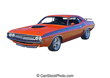 retro orange muscle car with hood scoop and black stripes