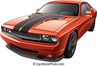 orange, muscle, voiture