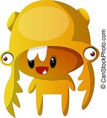 Orange mutant monster illustration vector on white background
