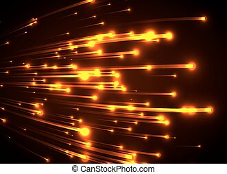 Orange neon light rays. Abstract glowing background.