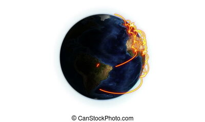 Orange network on a shaded Earth