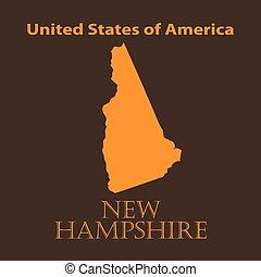 Orange New Hampshire map - vector illustration.