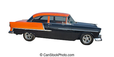 orange, noir, 1950s, hotrod