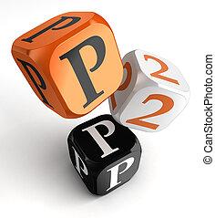 orange, noir, blocs, p2p, dés