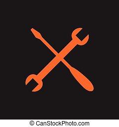 orange, noir, outils, traversé