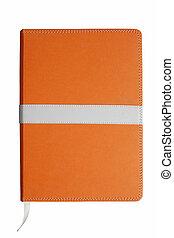 Orange notebook isolated on white background