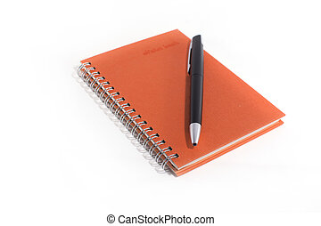 Orange notebook with black pen on white background.