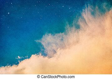 orange, nuages, étoiles, &