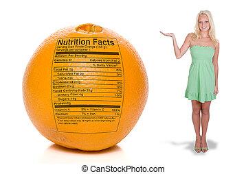 orange, nutrition, femme, faits