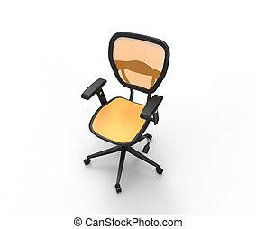 Orange Office Chair Studio Shot Top View