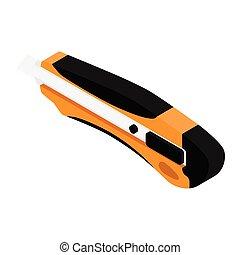 Orange office stationery knife isolated on white background
