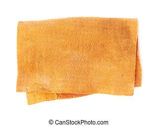 Orange old kitchen cleaning napkin rag over white isolated background