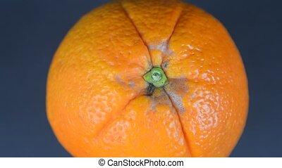 Orange on a black background. 4K resolution. Close-up