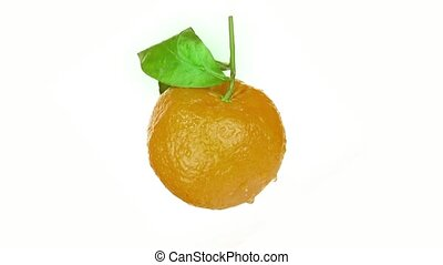 Orange rotates on a white background and from unripe and green becomes orange and tasty