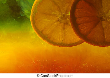Orange on abstract color background