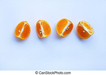 Orange on white background