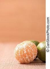 orange on wood table