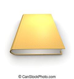 Orange or golden isolated book. 3d rendered illustration.