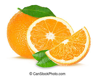 orange - Orange and slice isolated on white background
