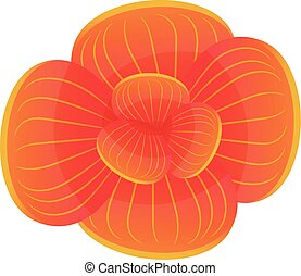 Orange orchid icon, cartoon style