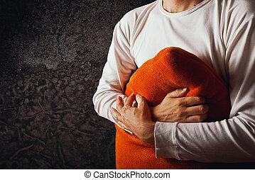 orange, oreiller, étreindre, homme