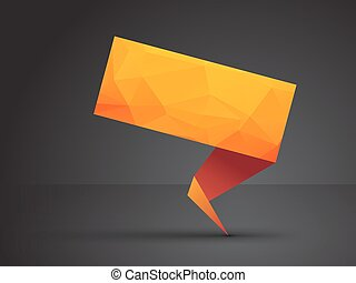 orange, origami, étiquette