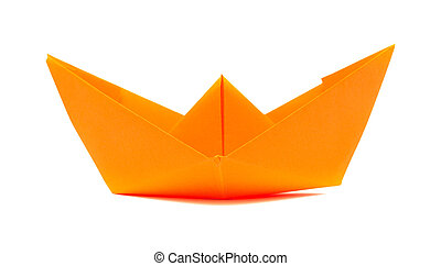 paper boat - orange origami paper boat isolated on white...