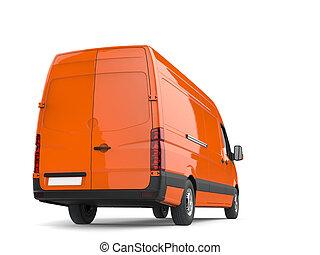 orange, ou, fourgon, livraison, en mouvement