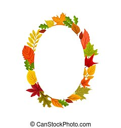 Orange oval from the leaves. Vector illustration on a white background.