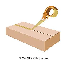 Adhesive Tape Dispenser Closing A Brown Cardboard Box -...