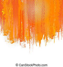 Orange paint splashes background. Vector