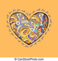 Orange painted peacock feathers heart design. Love card.