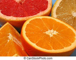 orange, pampelmuse, zitrone