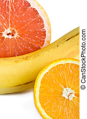 orange, pamplemousse, haut, banane, fin
