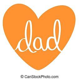 orange, papa, coeur