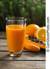 Orange, papaya and carrot smoothie - Healthy orange, papaya...