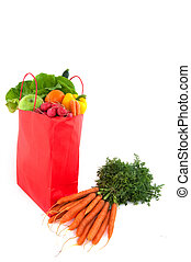Orange paper bag with healthy food