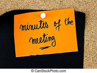 orange, papier, minutes, écrit, note, réunion